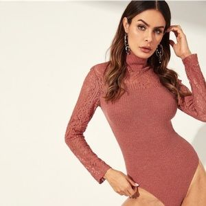 SHEIN •Contrast Lace Rib knit Bodysuit